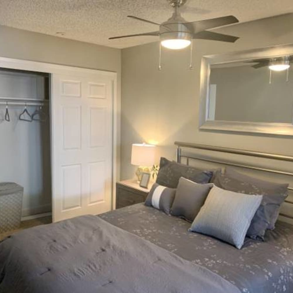 Bedroom with large closet at River Blu in Sacramento, California