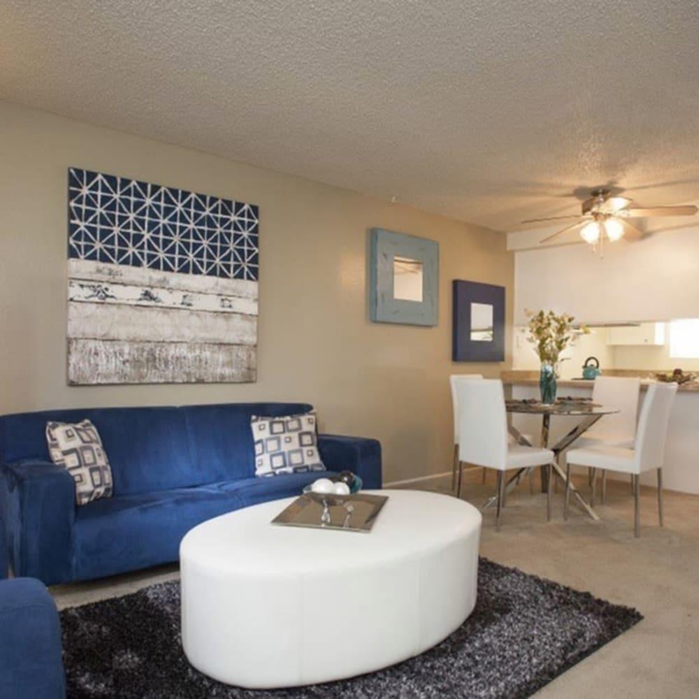 Living room at River Blu in Sacramento, California