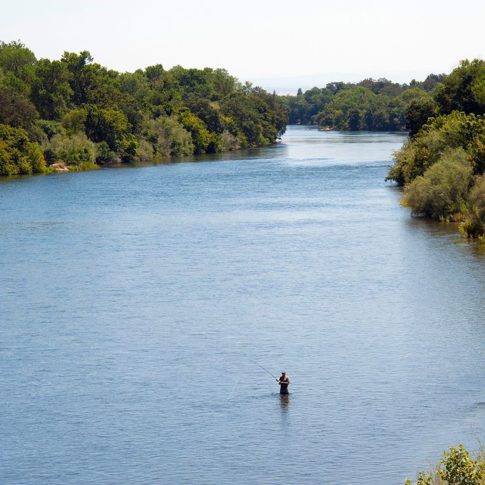 American river access near River Blu in Sacramento, California