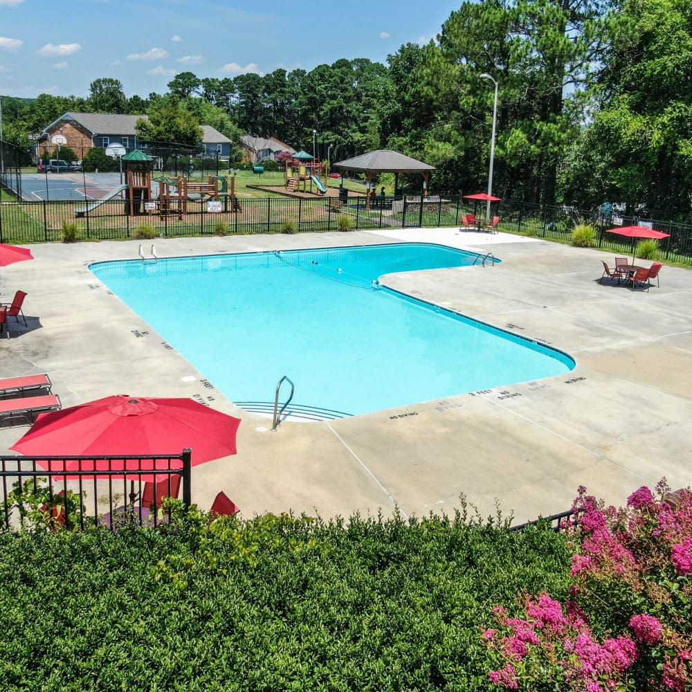 Swimming pool at Rippling Stream Townhomes in Durham, North Carolina