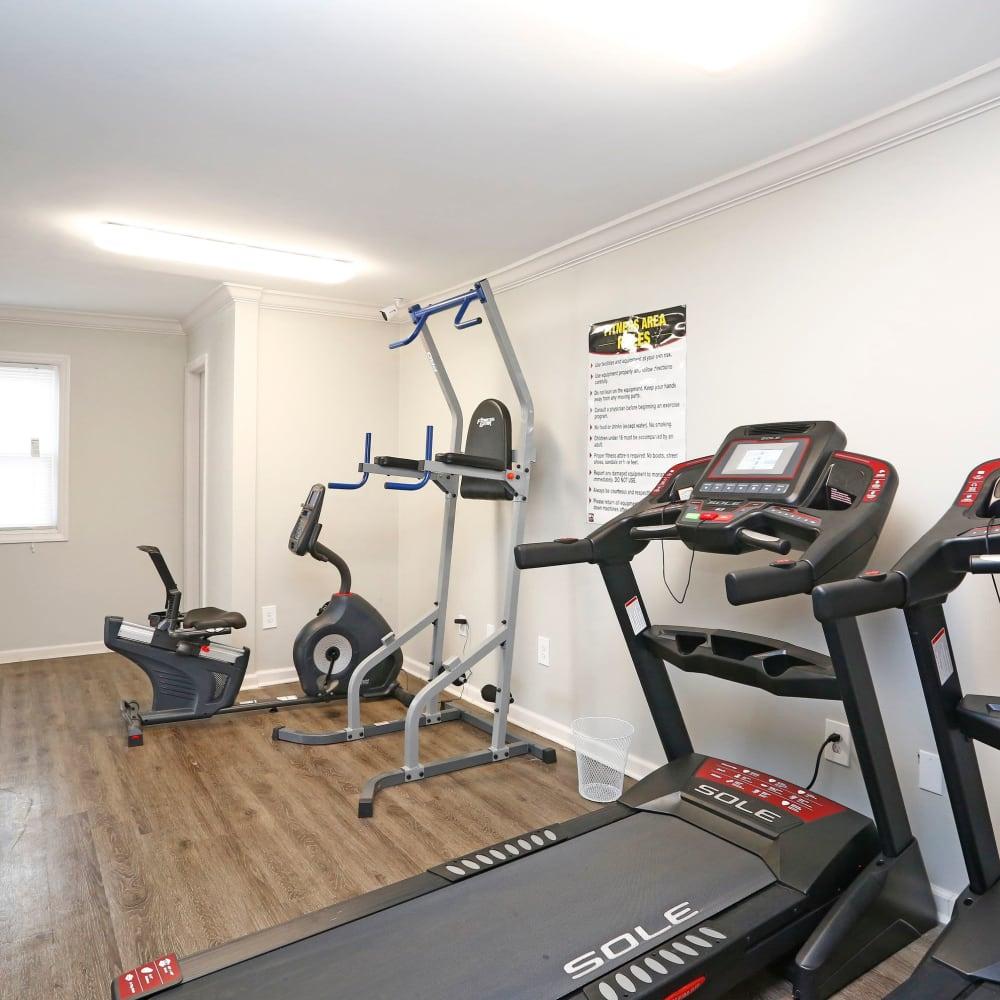 Treadmill in fitness center at Rippling Stream Townhomes in Durham, North Carolina