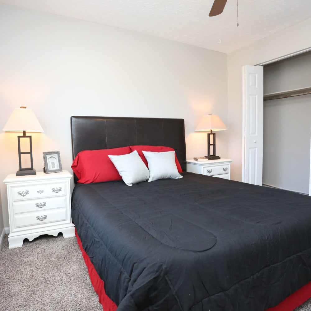 Bedroom with large closet at Willowbrook Apartments in Louisville, Kentucky