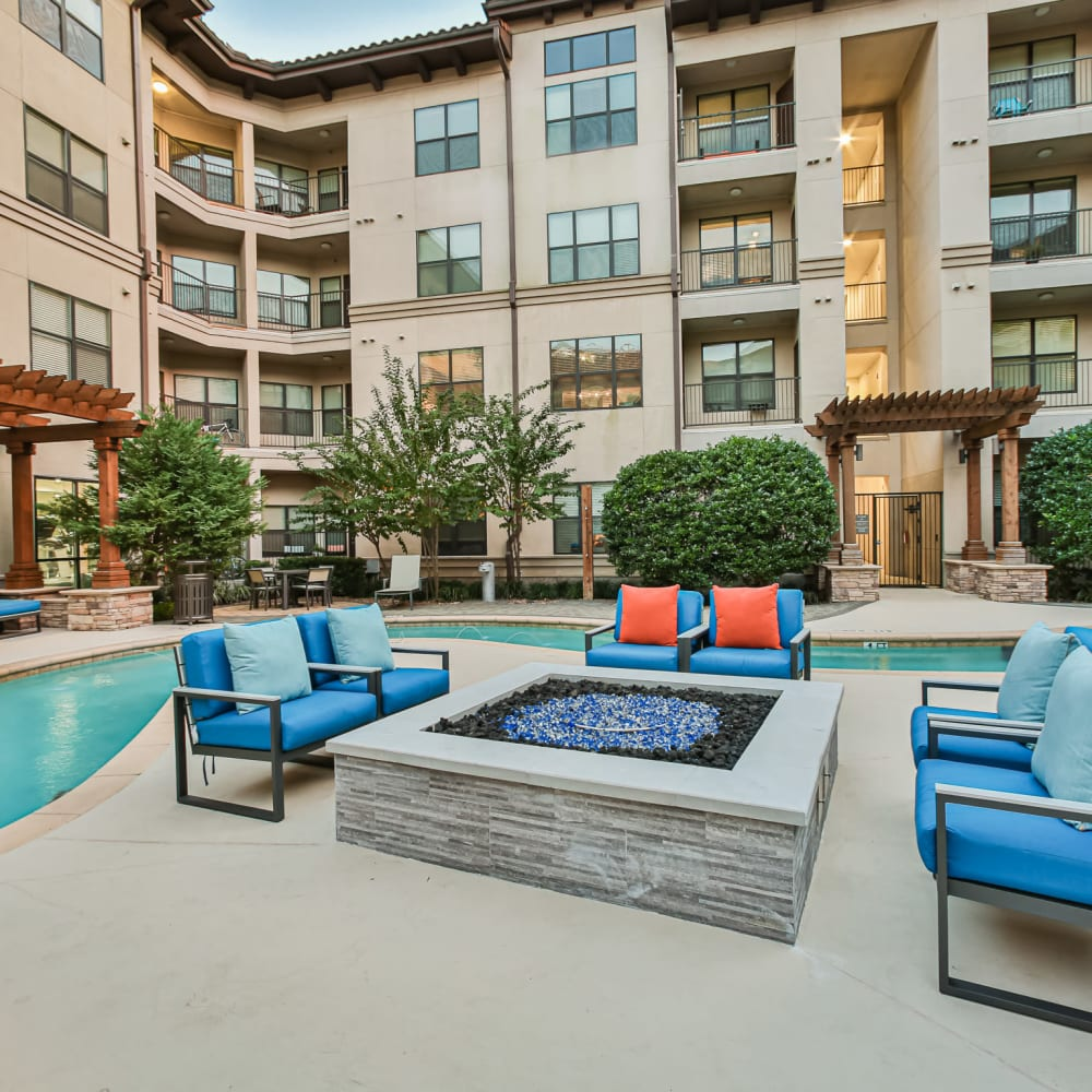 Firepit by lazy river at Broadstone Toscano in Houston, Texas