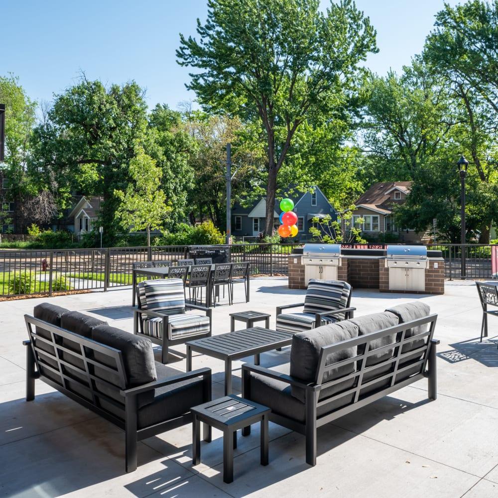 Outdoor lounge at Oaks Minnehaha Longfellow in Minneapolis, Minnesota