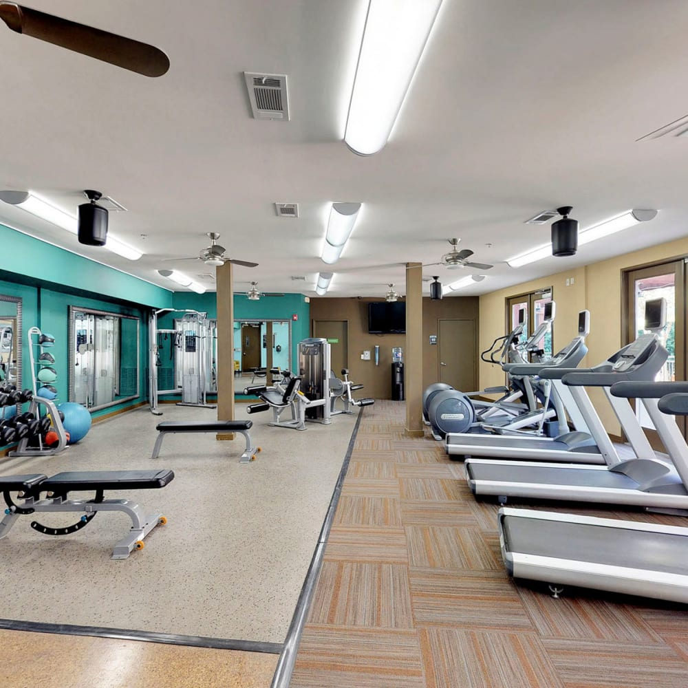 Well-equipped onsite fitness center at Oaks 5th Street Crossing at City Station in Garland, Texas