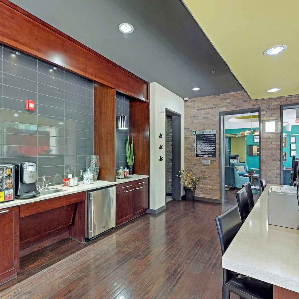 Leasing area in the lobby at Oaks 5th Street Crossing at City Station in Garland, Texas