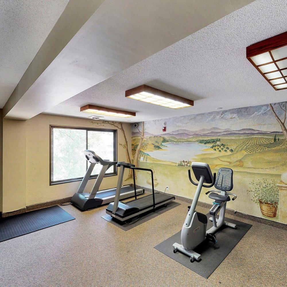 Cardio equipment in the fitness center at Oaks Braemar in Edina, Minnesota