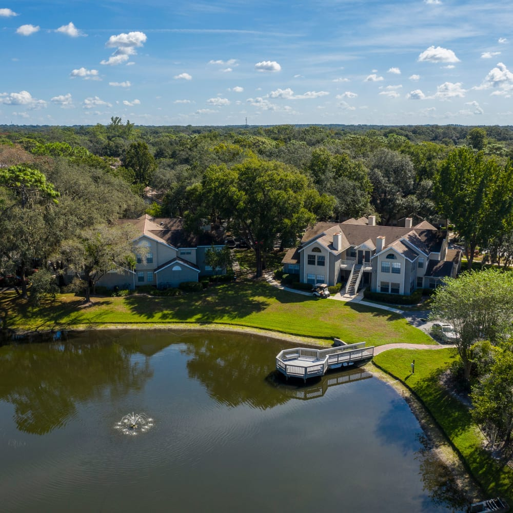 An aerial view of the pond at Avenue @Creekbridge in Brandon, Florida