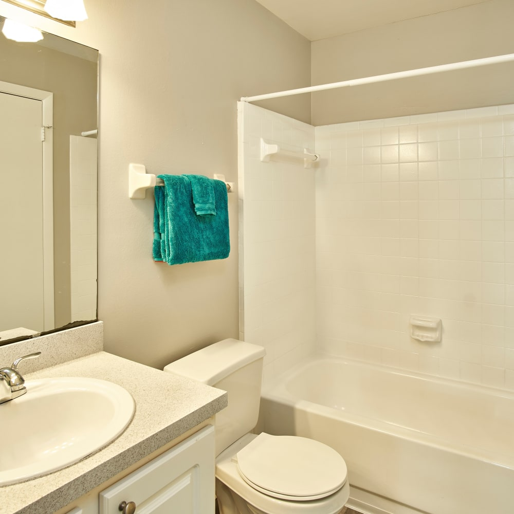 A bathroom with an oval tub at Avenue @Creekbridge in Brandon, Florida