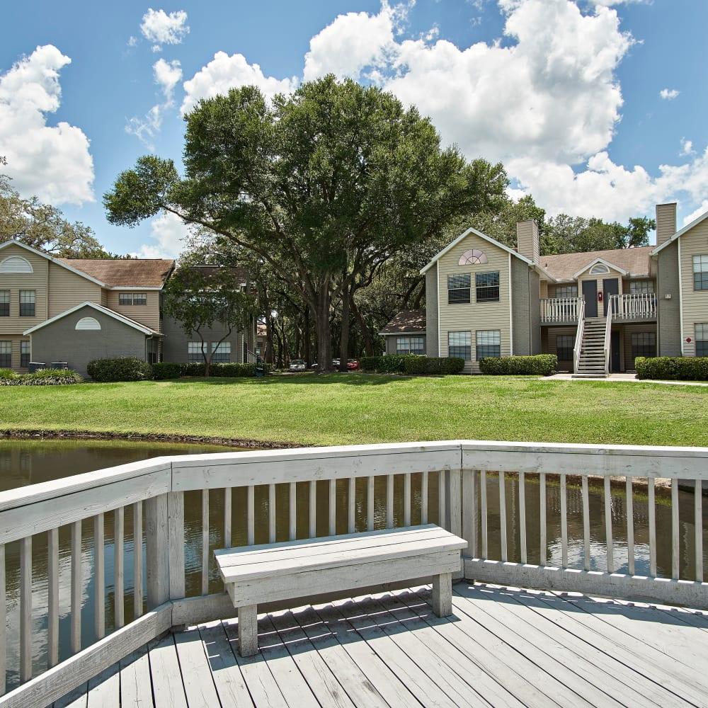 The deck overlooking the pond at Avenue @Creekbridge in Brandon, Florida