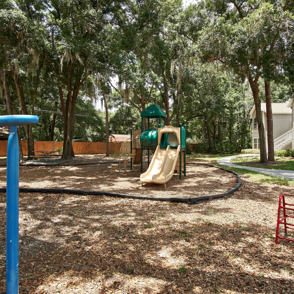 Shaded playground with a slide at Avenue @Creekbridge in Brandon, Florida