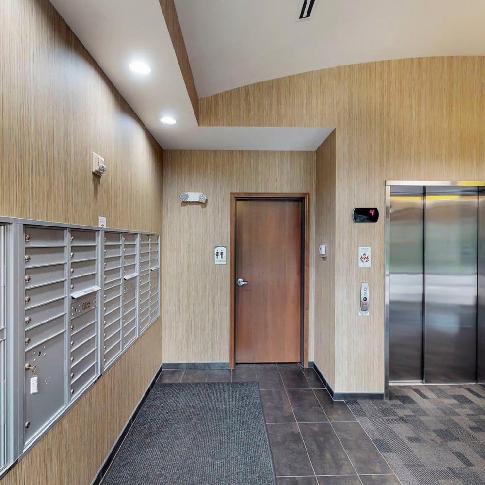 Mailbox area near the elevator at Oaks Glen Lake in Minnetonka, Minnesota