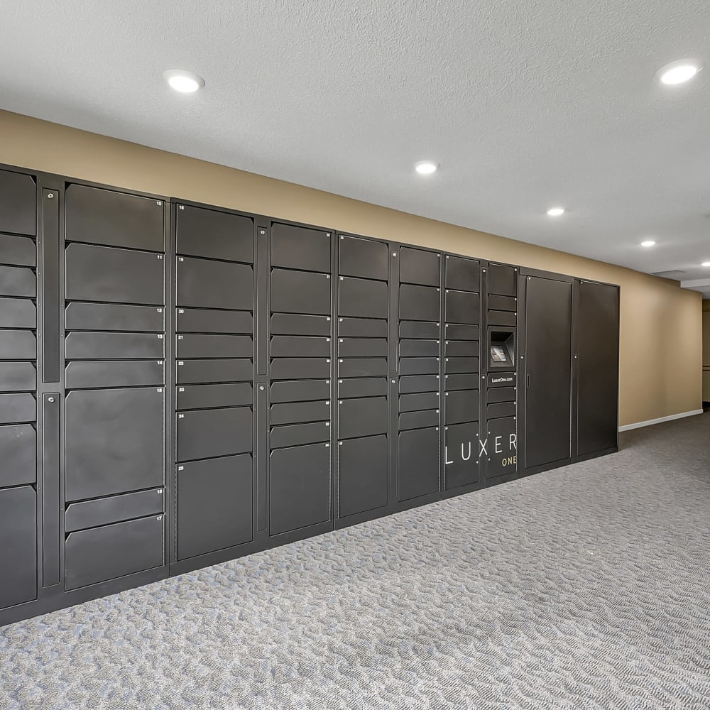 Luxer secure package lockers at Oaks Lincoln Apartments & Townhomes in Edina, Minnesota