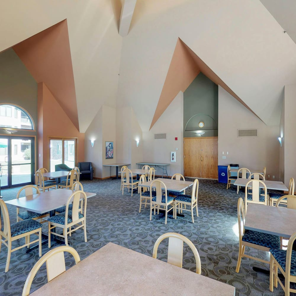 Vaulted ceilings in the strikingly architected lobby entrance at Oaks Lincoln Apartments & Townhomes in Edina, Minnesota