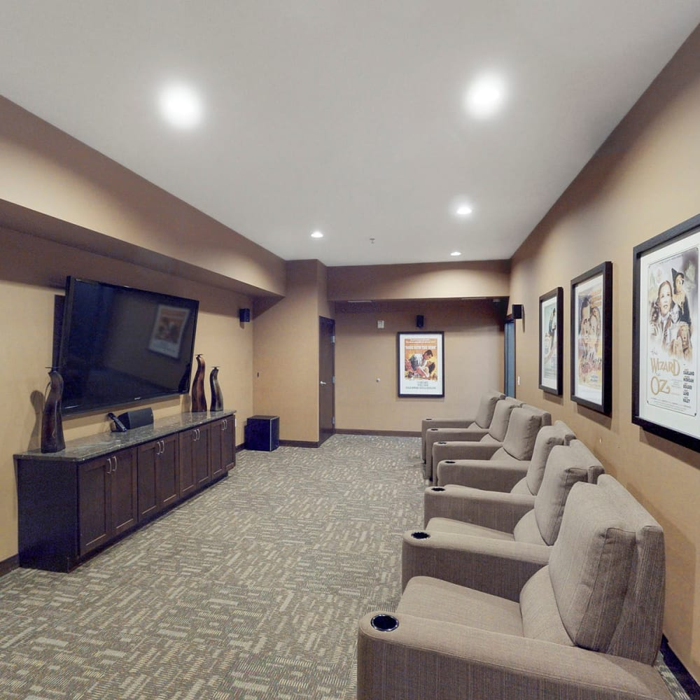 Onsite theater room at Oaks Station Place in Minneapolis, Minnesota
