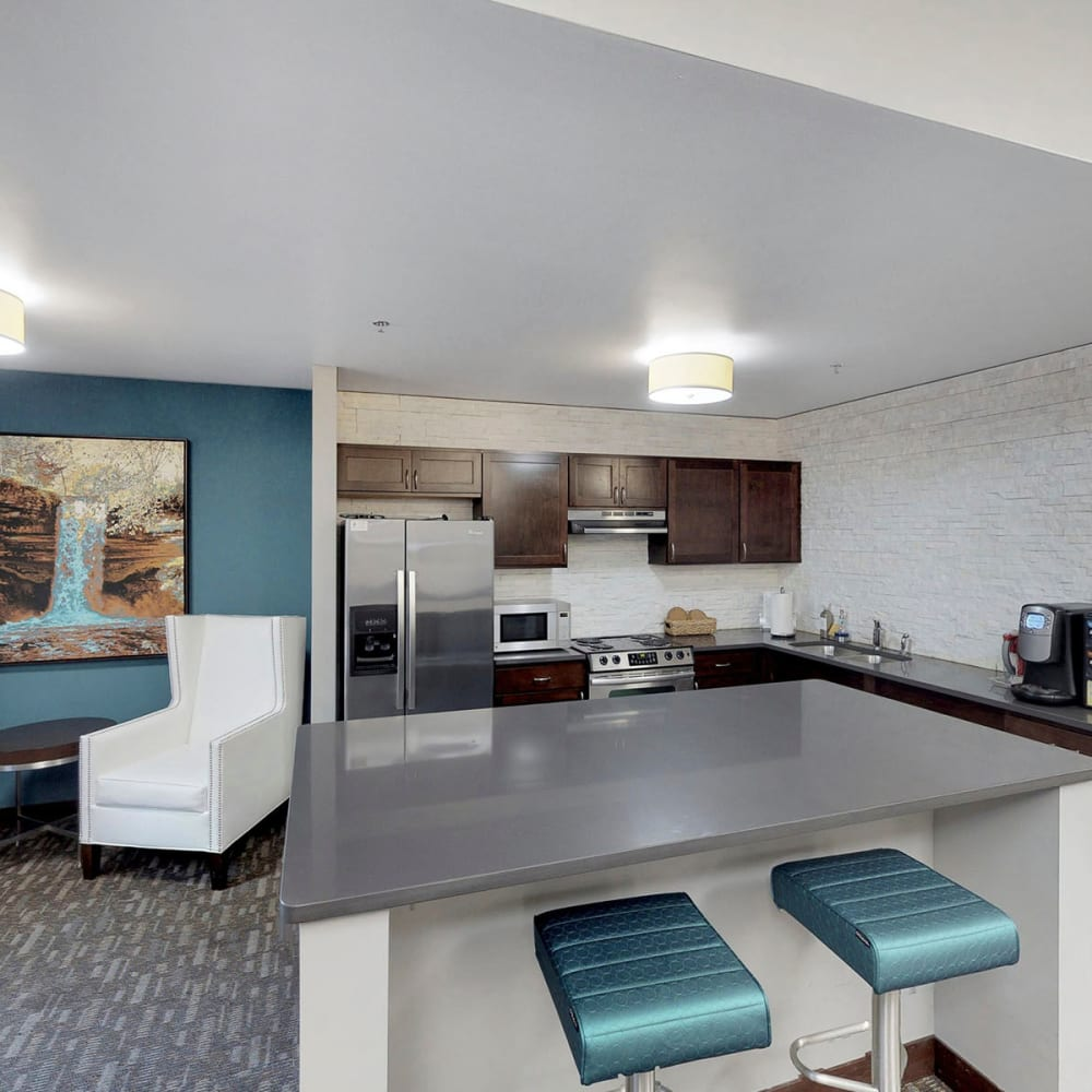 Demonstration kitchen for resident use in the clubhouse at Oaks Station Place in Minneapolis, Minnesota