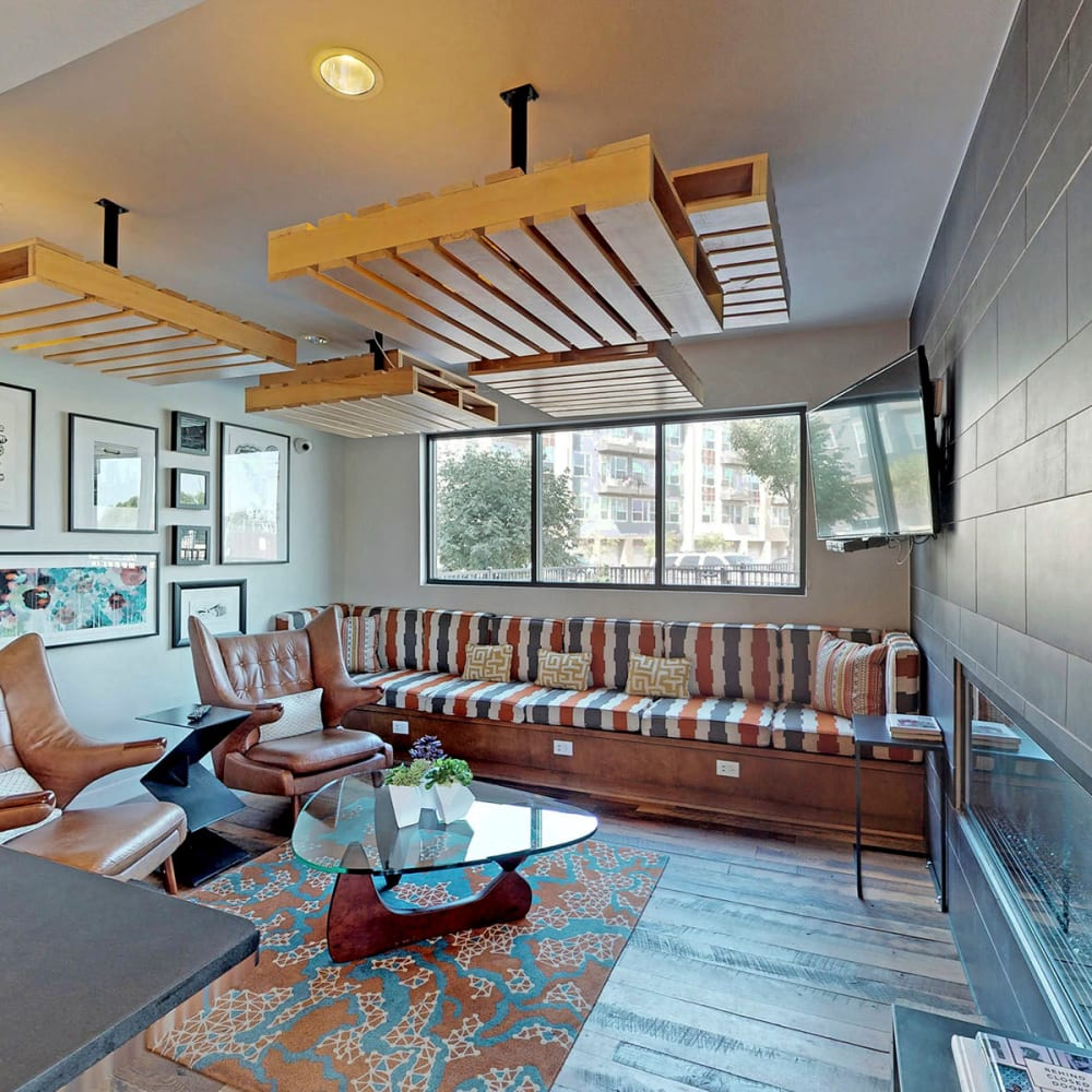 Retro-modern furnishings in the clubhouse lounge at Oaks Trinity in Dallas, Texas