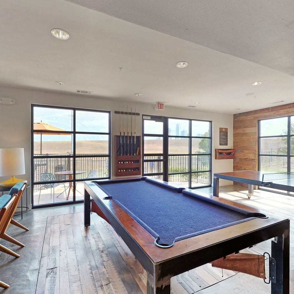 Billiards table in the clubhouse lounge at Oaks Trinity in Dallas, Texas