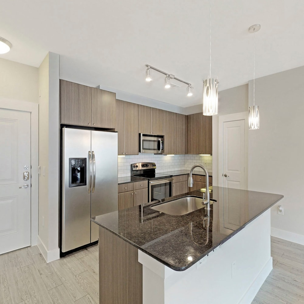 Hardwood-style flooring and stainless-steel appliances in a model apartment's kitchen at Oaks Trinity in Dallas, Texas