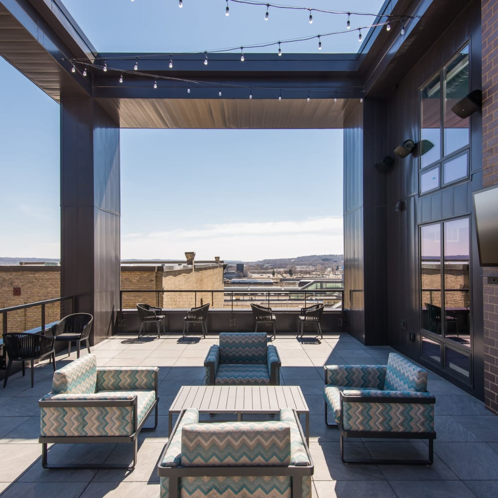 Rooftop lounge with a fire pit at Oaks Union Depot in St. Paul, Minnesota