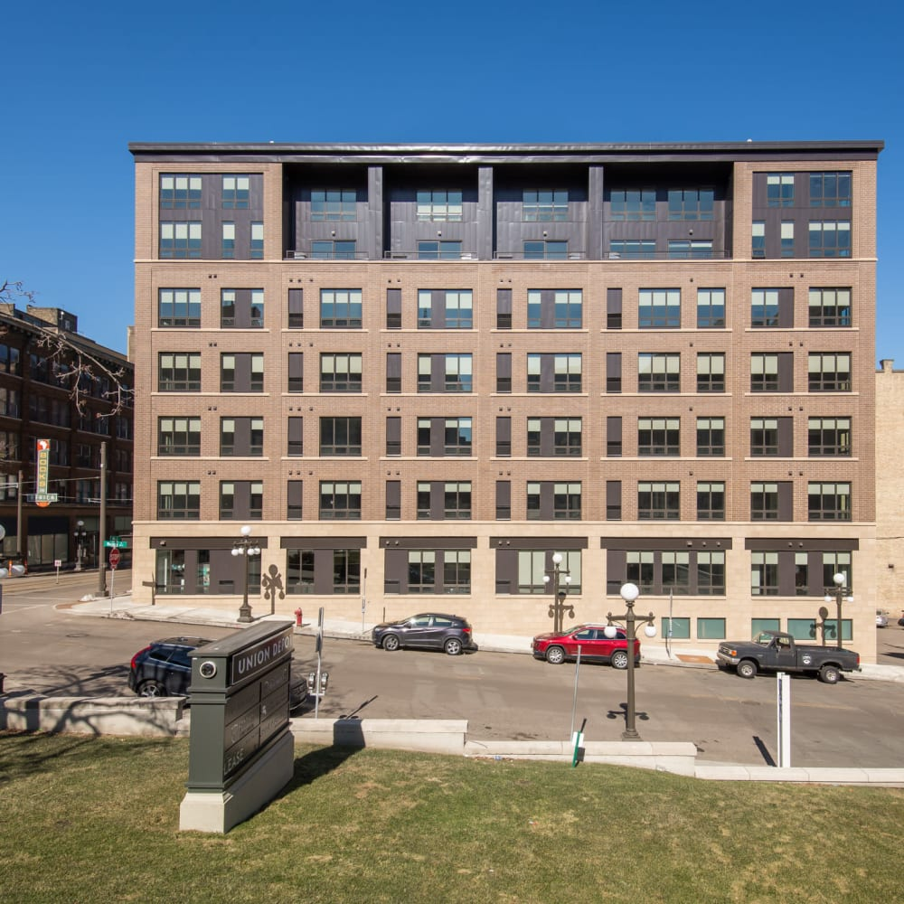 Exterior view of our luxury high-rise community at Oaks Union Depot in St. Paul, Minnesota
