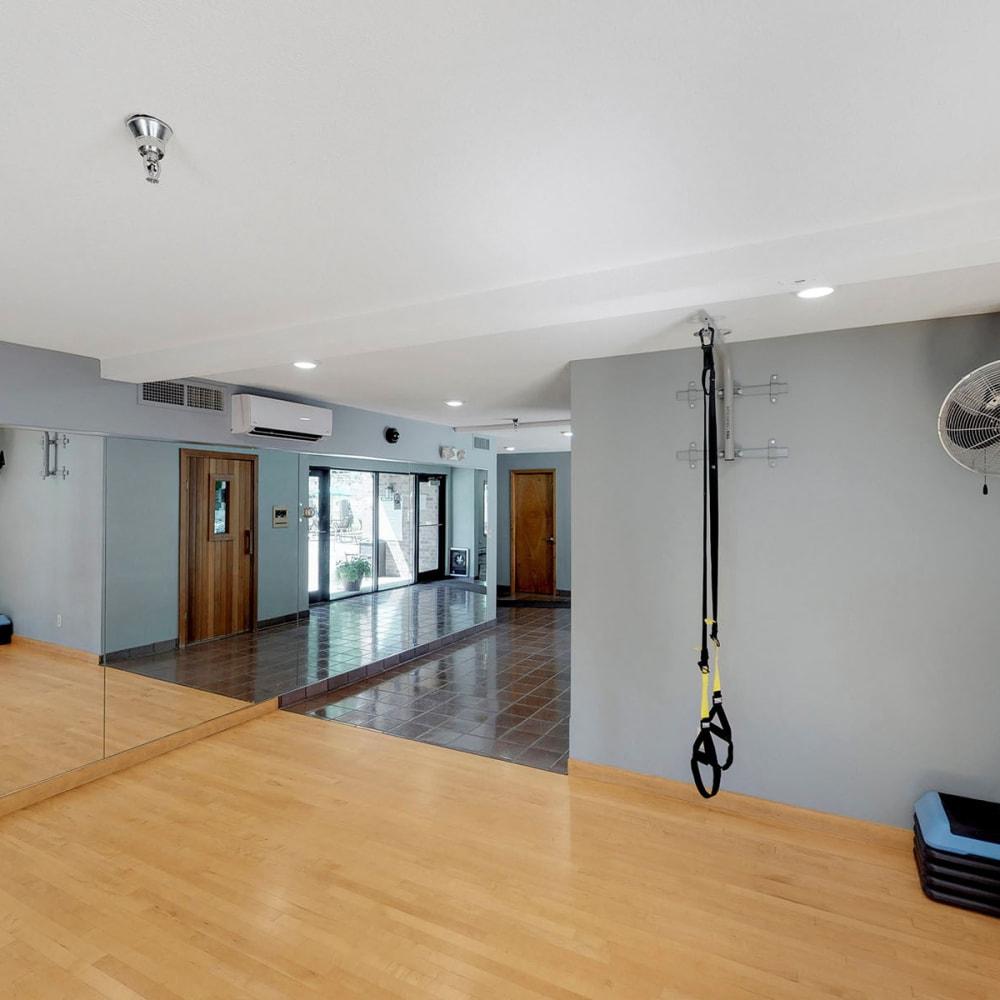 Yoga room in the fitness center at Oaks Vernon in Edina, Minnesota