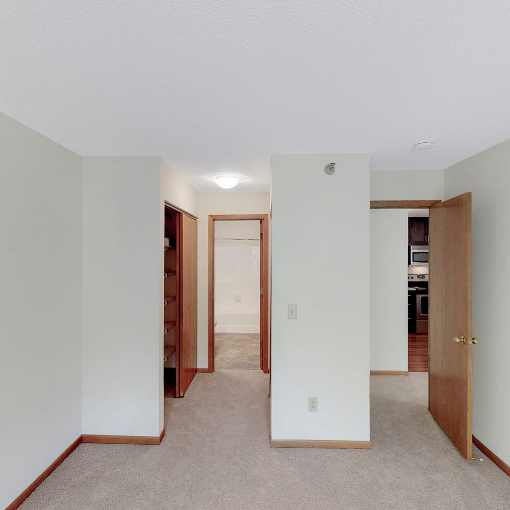 Plush carpeting in a model home's bedroom at Oaks Vernon in Edina, Minnesota