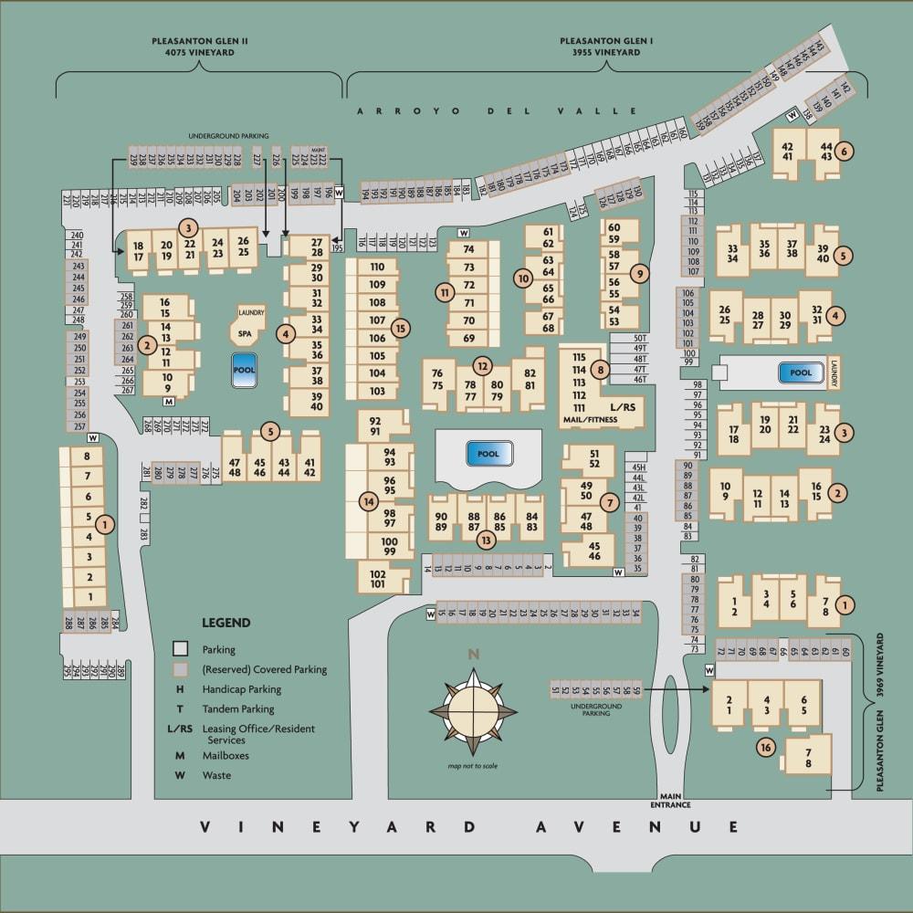 Overall community site plan for Pleasanton Glen Apartment Homes in Pleasanton, California