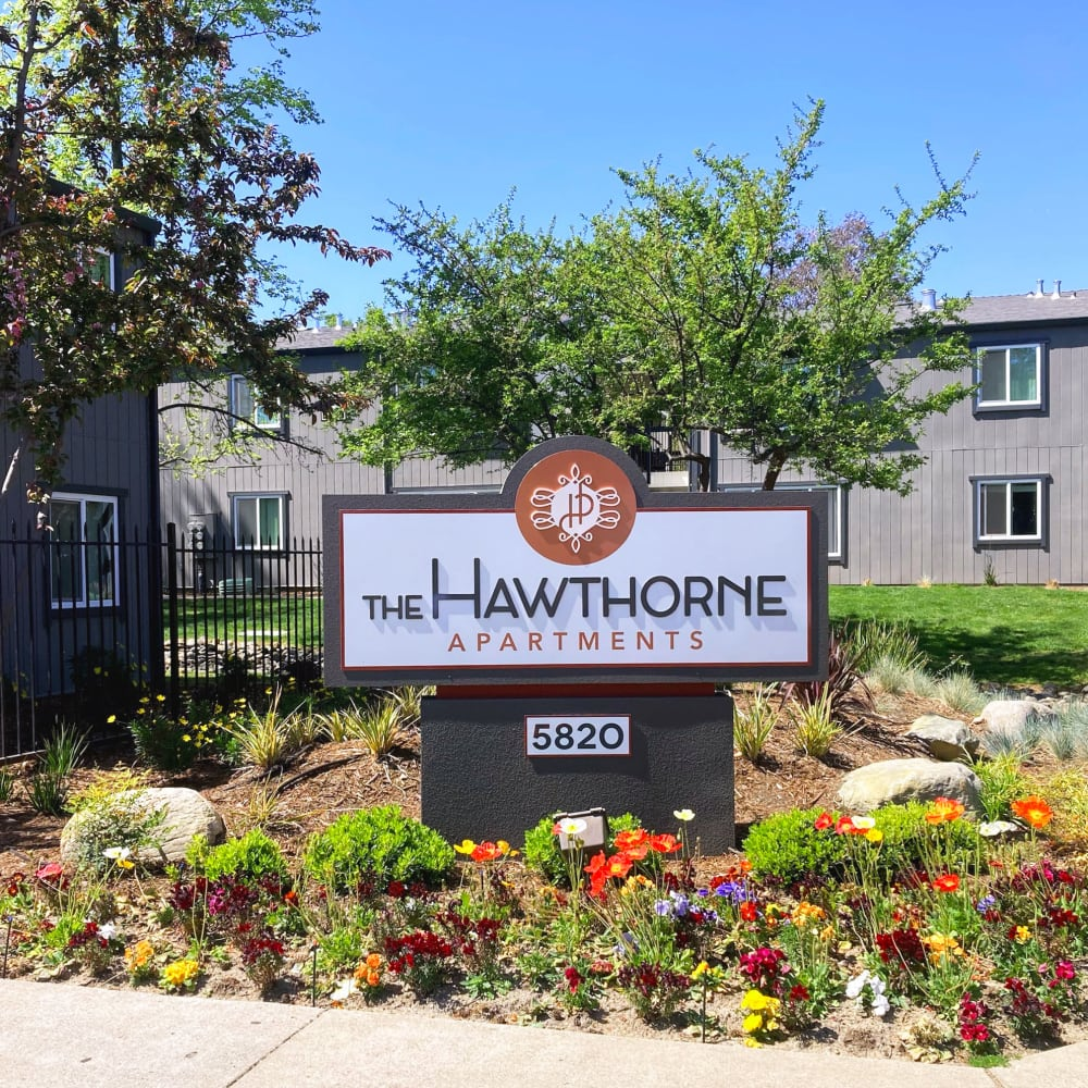 Front entrance sign at The Hawthorne in Carmichael, California