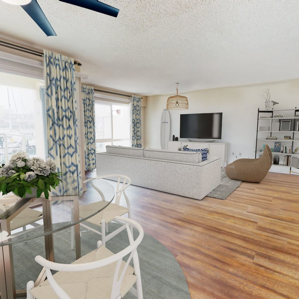 View a virtual tour of a 2 bedroom townhome at The Tides at Marina Harbor in Marina del Rey, California
