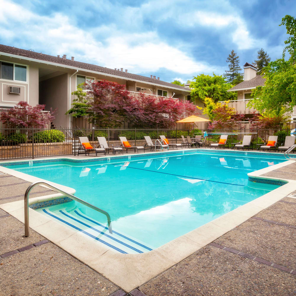 Beautiful pool at Greendale Apartments in Mountain View, California