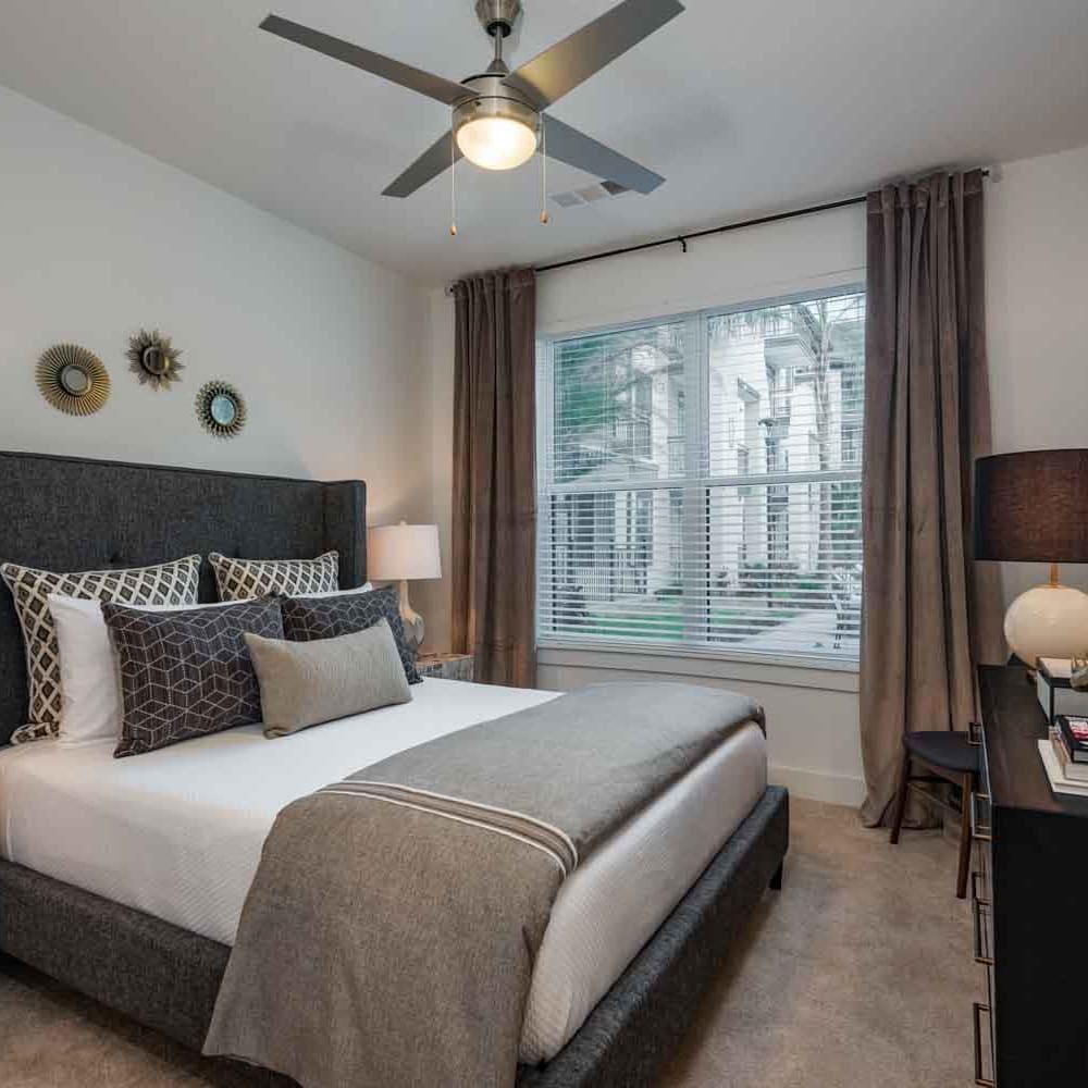 Model bedroom at The Jaxon in Jacksonville, Florida