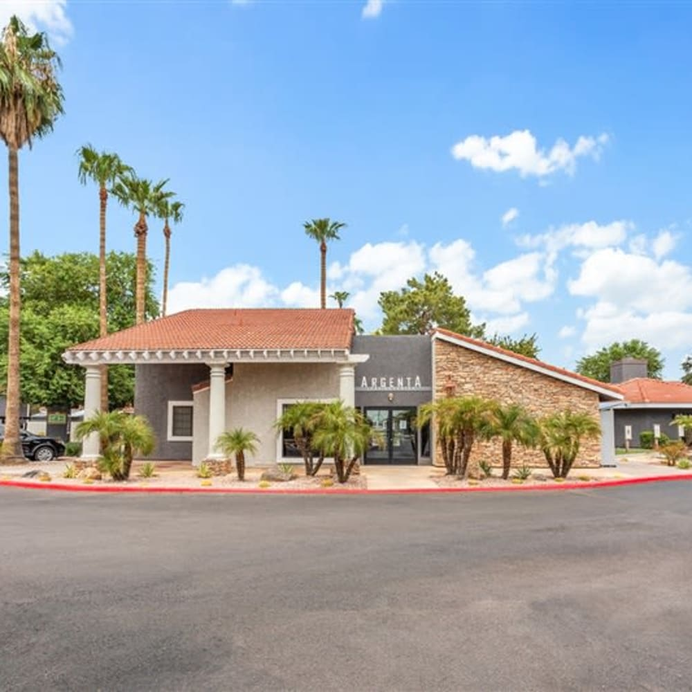 The beautiful exterior of Argenta Apartments in Mesa, Arizona