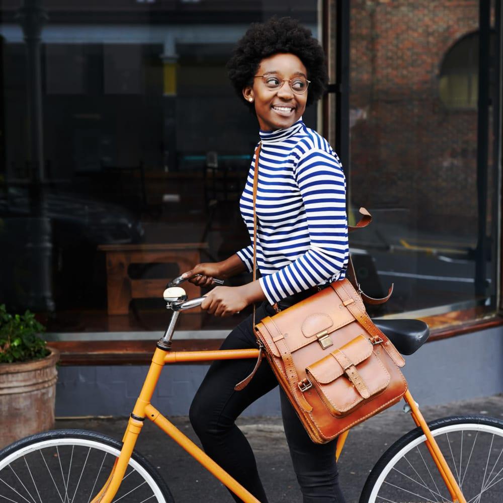 Resident on her bike near The Gallery Lofts in Winston Salem, North Carolina
