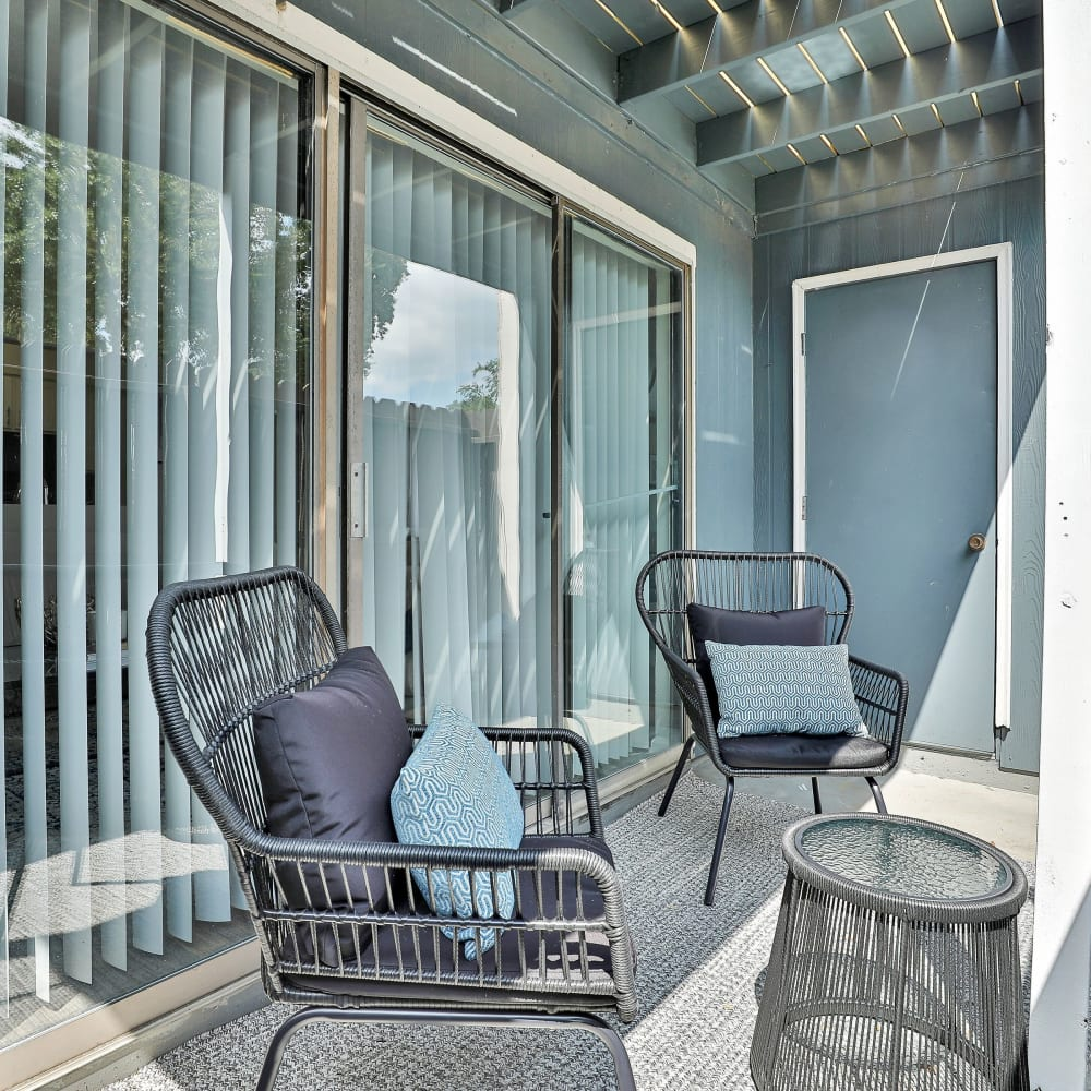 A spacious private patio at Barringer Square in Webster, Texas