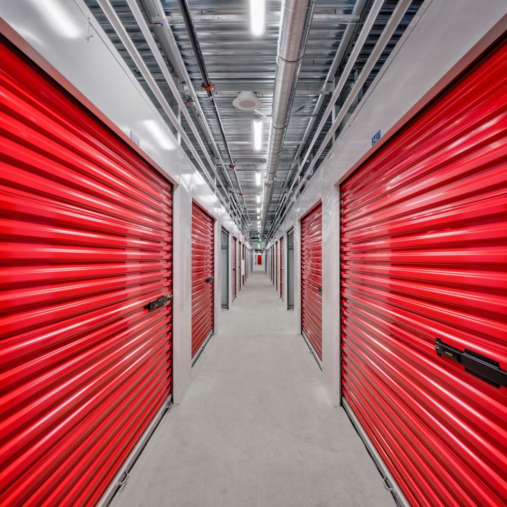 Clean and modern storage units with doors closed at Trojan Storage of San Jose in San Jose, California