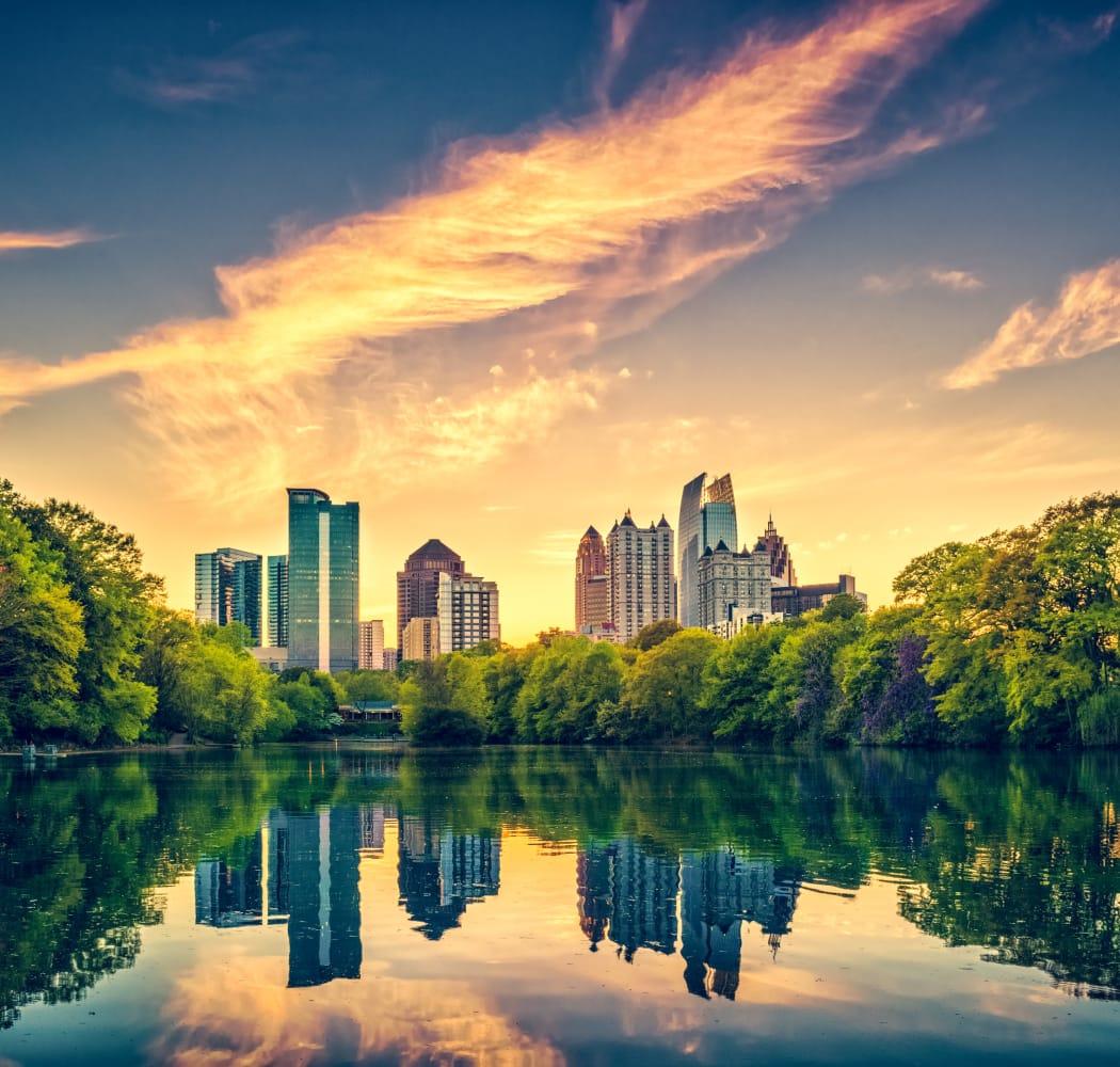 Beautiful sunset over Atlanta, GA