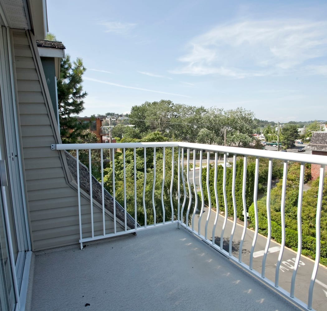 Fraser Tolmie Apartments balcony views in Victoria, British Columbia