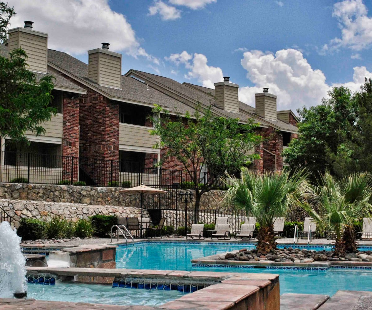 Swimming pool at The Chimneys Apartments in El Paso, Texas