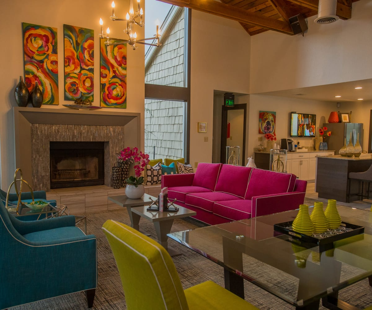 The Courtyards offers a clubhouse with a fireplace in Tulsa, Oklahoma