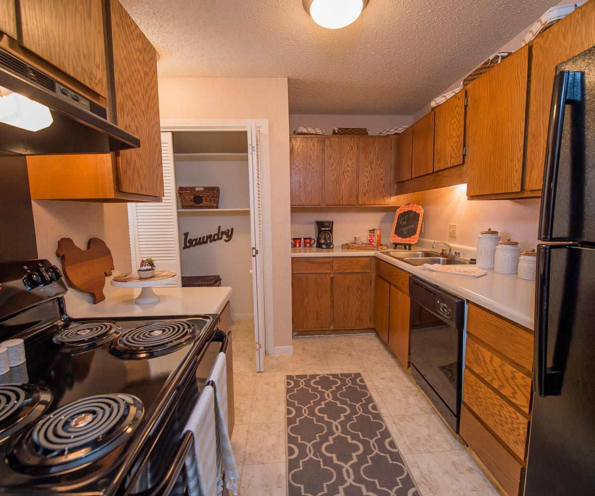 Kitchen with plenty of counter space at The Mark Apartments in Ridgeland, Mississippi