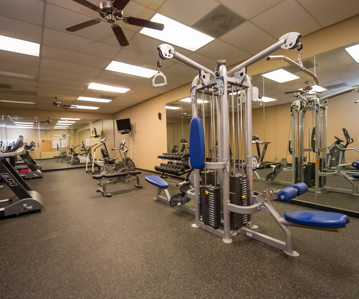 Private fitness center at The Mark Apartments in Ridgeland, Mississippi