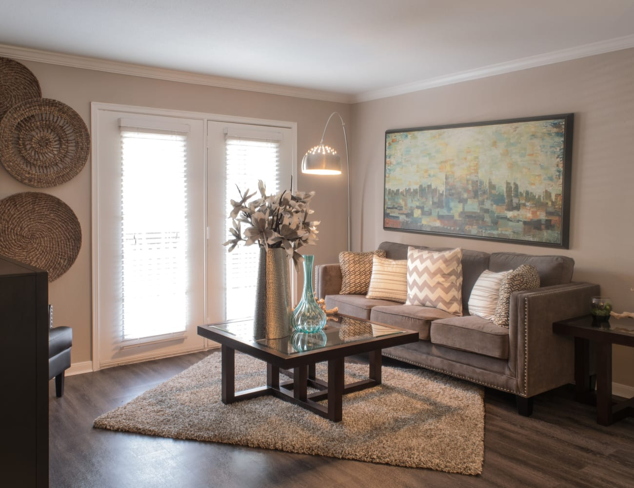 Open-concept layout with hardwood floors at Hayden at Enclave in Houston, Texas