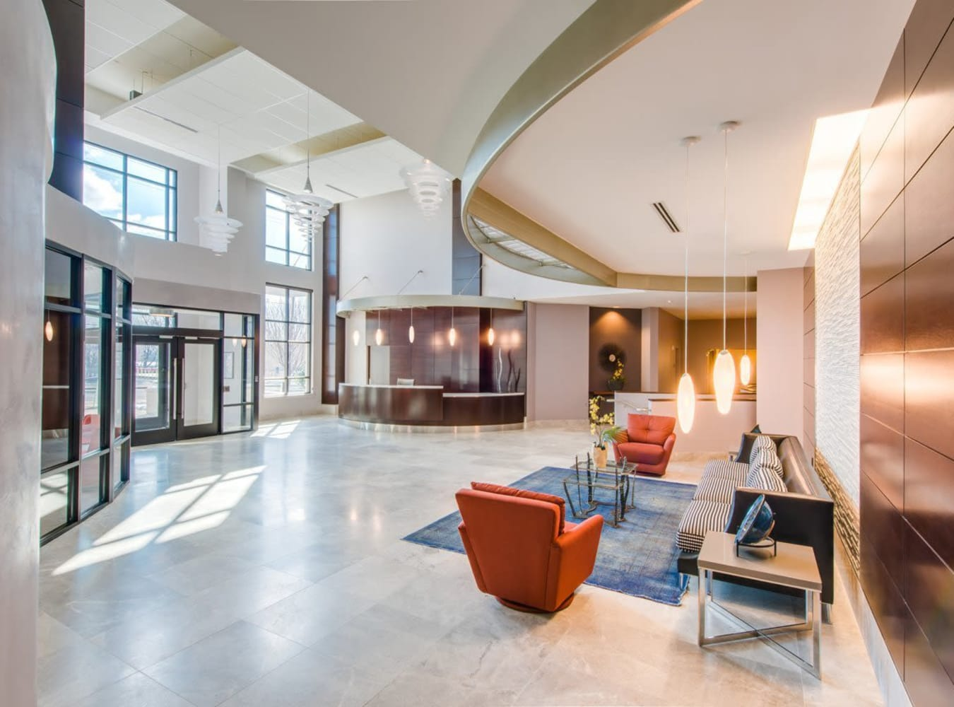 Modern lobby at  in Silver Spring, MD