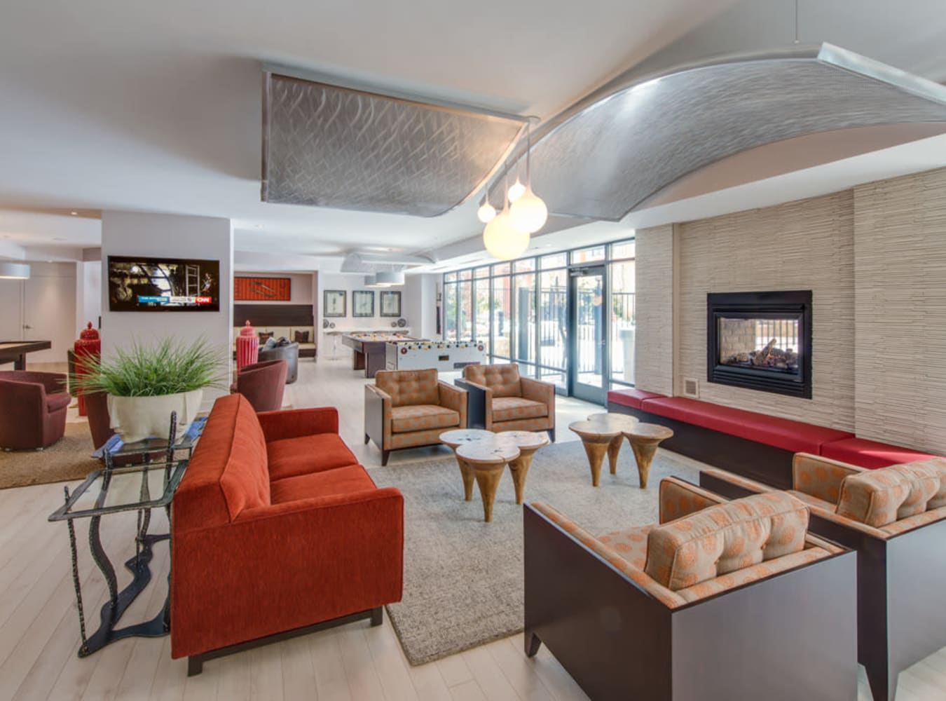 Lounge with large fireplace at  in Silver Spring, MD