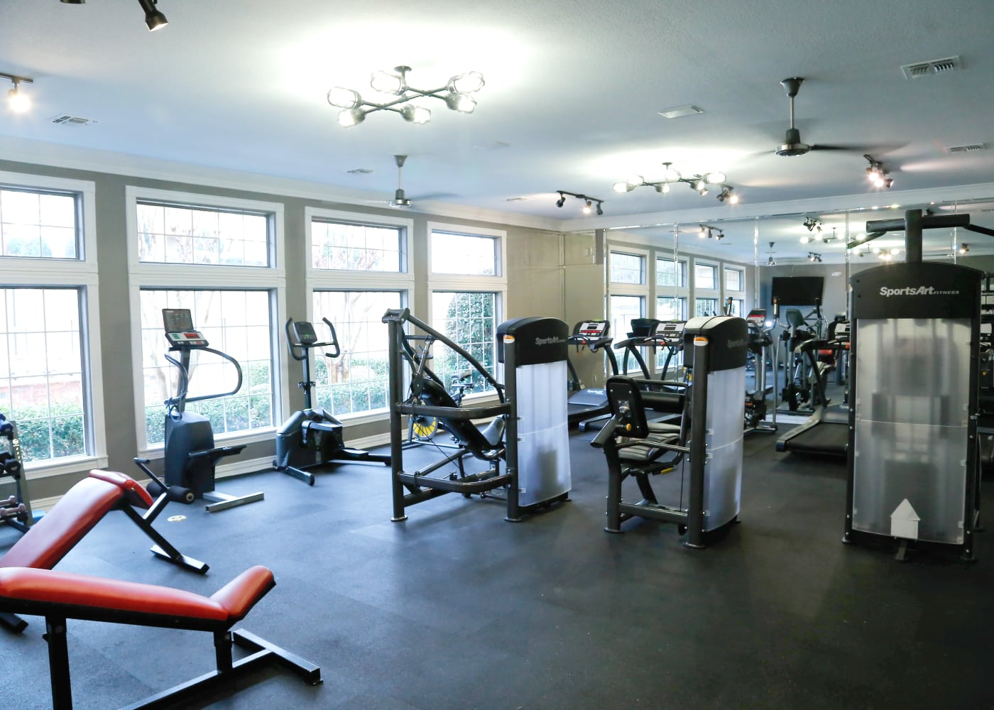 Off Campus Student Housing at Flatts at South Campus has a large Fitness Center.