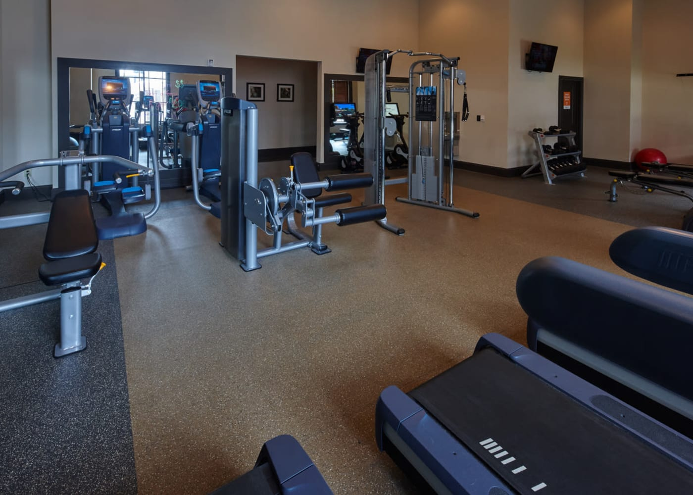 The fitness center at Trifecta Apartments in Louisville, Kentucky.