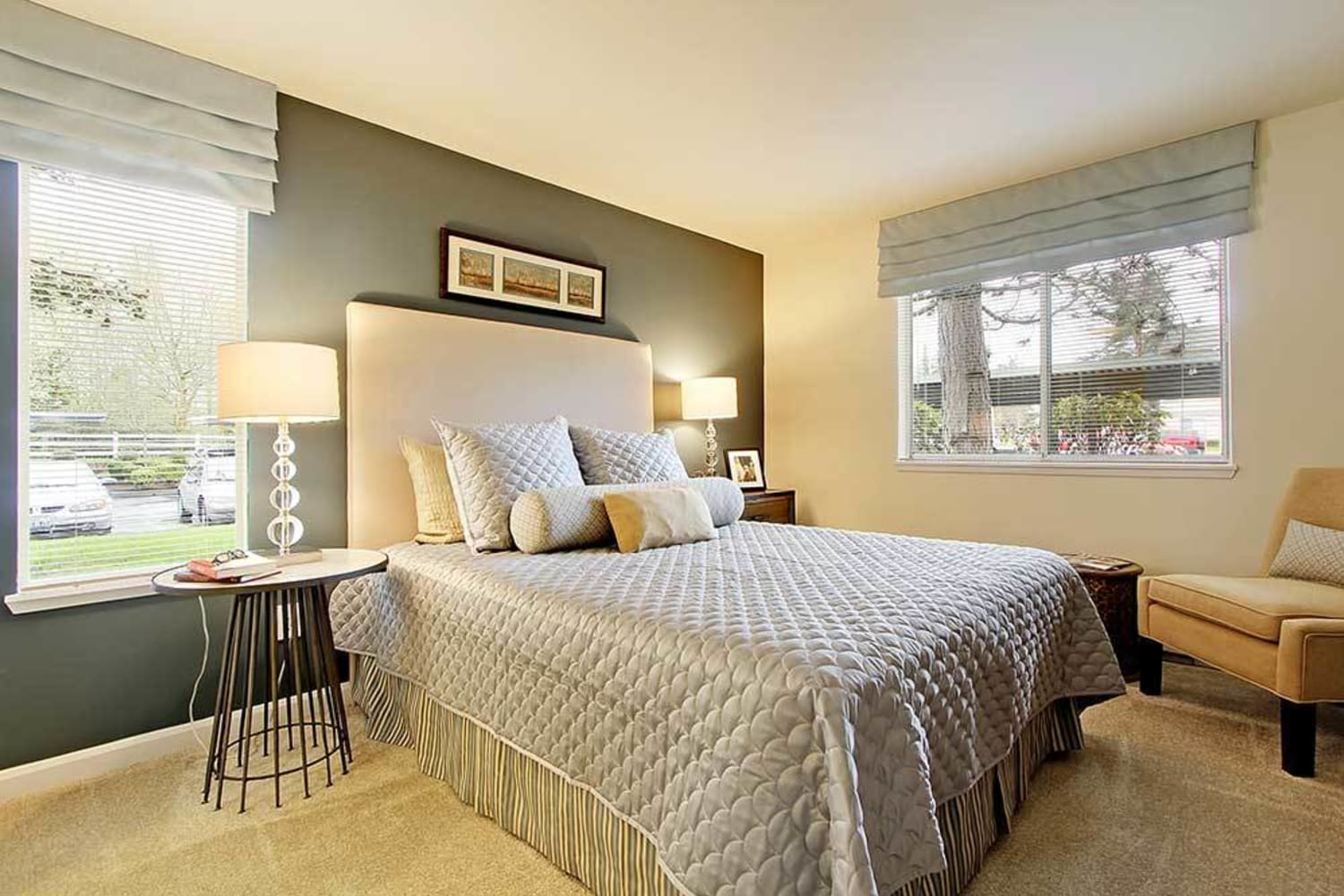 Bedroom at Campbell Run Apartments in Woodinville, Washington