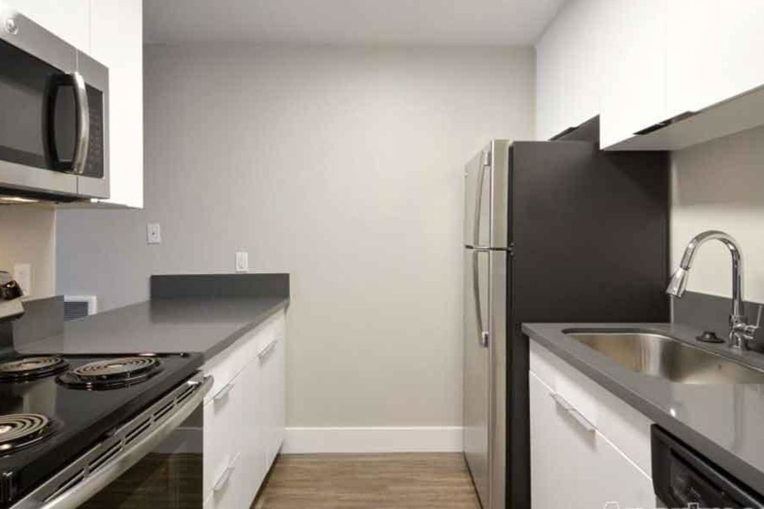 Harbor Cove Apartments in Foster City, California, offer kitchens with ample counter space