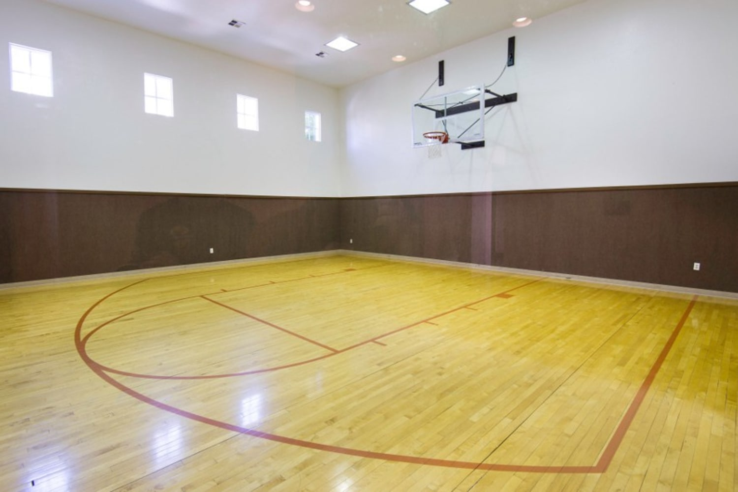 Large basketball court at Irving Schoolhouse Apartments in Salt Lake City, Utah